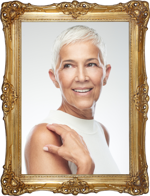 Mature woman with short cropped hair in a gold frame