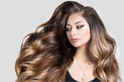 Woman with beautiful long wavy hair
